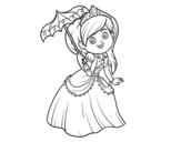 Dibujo de Princesa con parasol