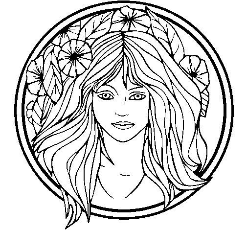 Dibujo de Princesa del bosque 2 para Colorear