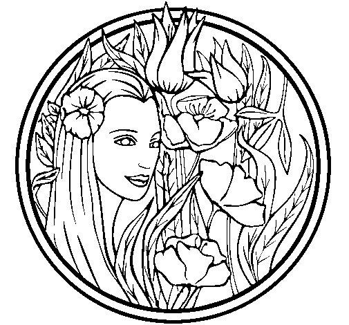 Dibujo de Princesa del bosque 3 para Colorear