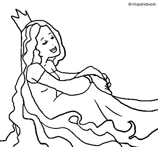 Dibujo de Princesa relajada para Colorear
