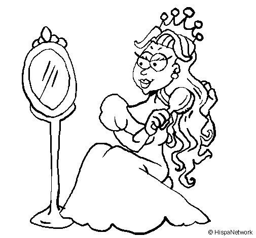 Dibujo de Princesa y espejo para Colorear