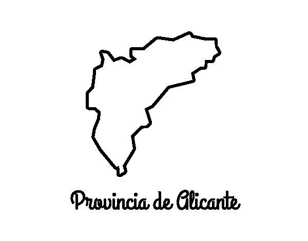 Dibujo de Provincia de Alicante para Colorear
