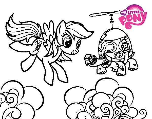 Dibujo de Rainbow Dash y la tortuga tanque para Colorear