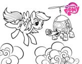 Dibujo de Rainbow Dash y la tortuga tanque