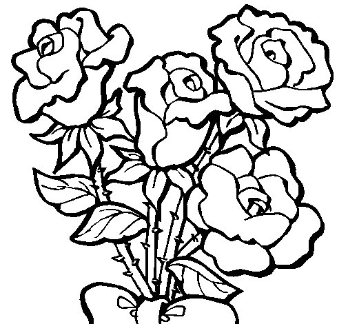 Dibujo de Ramo de rosas para Colorear