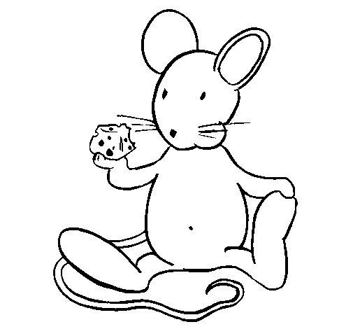 Dibujo de Rata con queso para Colorear