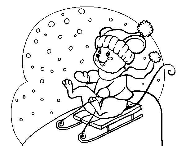 Dibujo de Ratita en trineo para Colorear