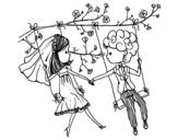 Dibujo de Recién casados en un columpio
