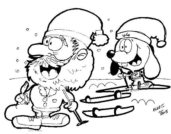 Dibujo de Renato esquiando y Papá Noel para Colorear