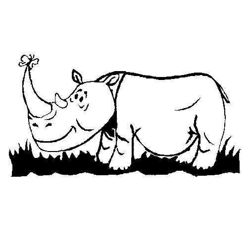 Dibujo de Rinoceronte y mariposa para Colorear