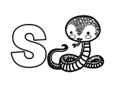 Dibujo de S de Serpiente para colorear