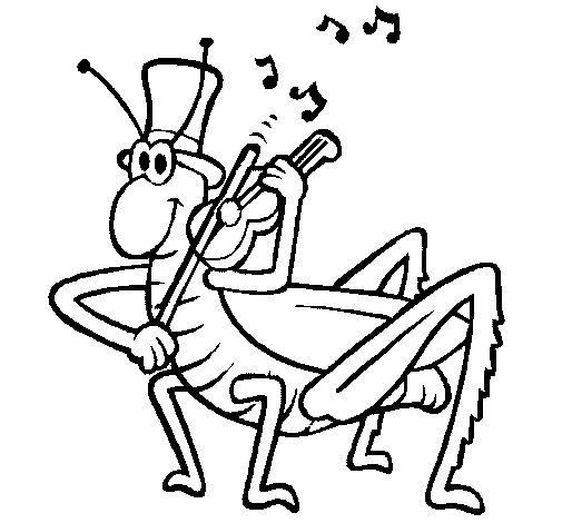 Dibujo de Saltamontes con violín para Colorear