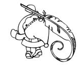 Dibujo de Santa Claus escribiendo para colorear