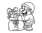Dibujo de Santa Claus ofreciendo regalos para colorear