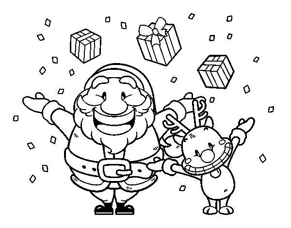 Dibujo de Santa y reno con regalos para Colorear - Dibujos.net