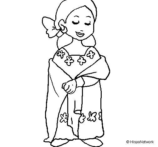 Dibujo de Señora maya para Colorear