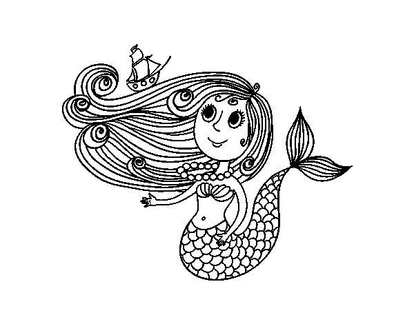 Dibujos Para Colorear E Imprimir De Sirenas: Dibujo De Sirena Con Barquito Para Colorear