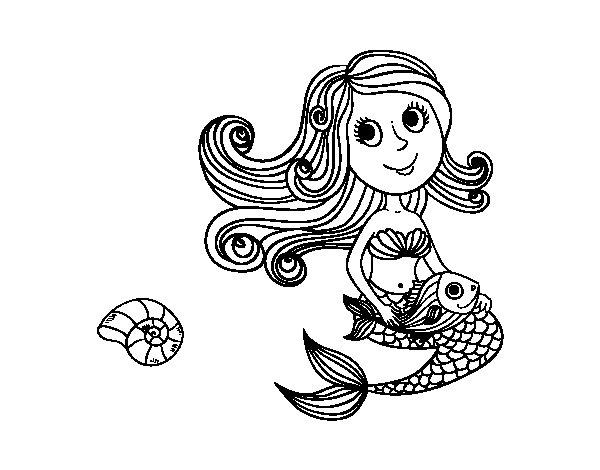 Dibujo de Sirena y su pez para Colorear