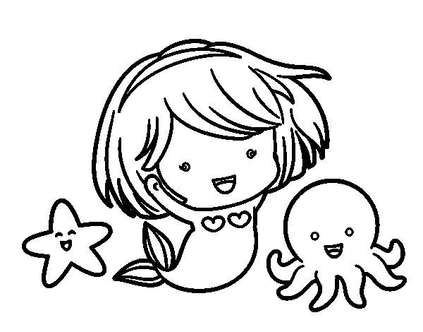 Ariel La Sirenita Para Colorear Para Dibujos De La: Dibujo De Sirenita Chibi Para Colorear