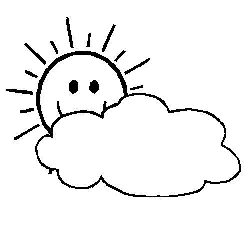 Dibujo de Sol y nube para Colorear