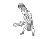 Dibujo de Soldado romano con espada para colorear