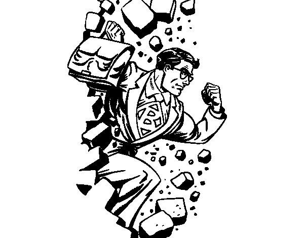 Dibujo de Superhéroe rompiendo una pared para Colorear
