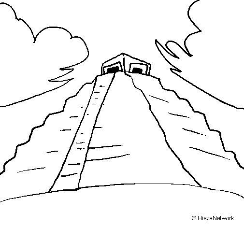 Dibujo de Templo Chichén Itzá para Colorear