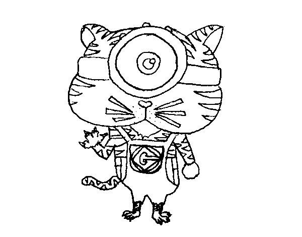 Dibujo de Tigre Minion para Colorear