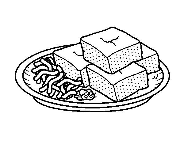 Dibujo de Tofu con verduras para Colorear