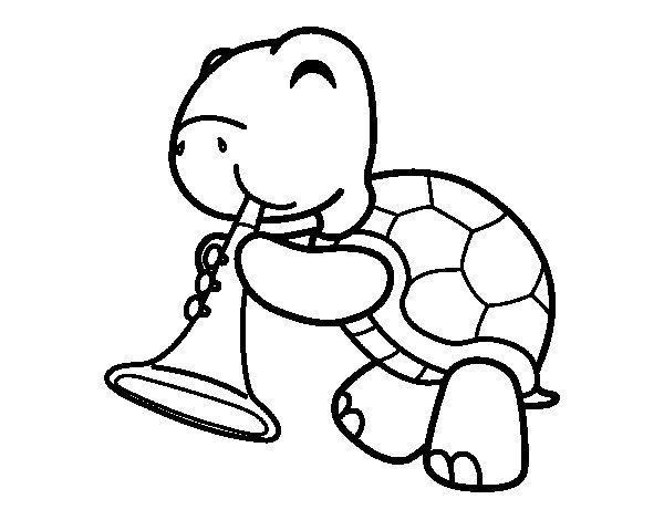 Dibujo de Tortuga con trompeta para Colorear