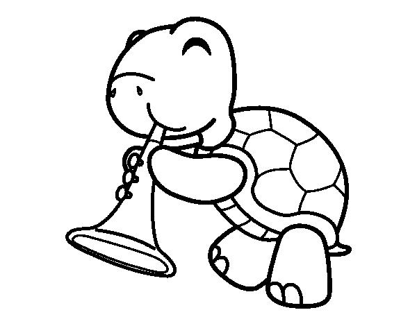Dibujo de Tortuga con trompeta para Colorear - Dibujos.net