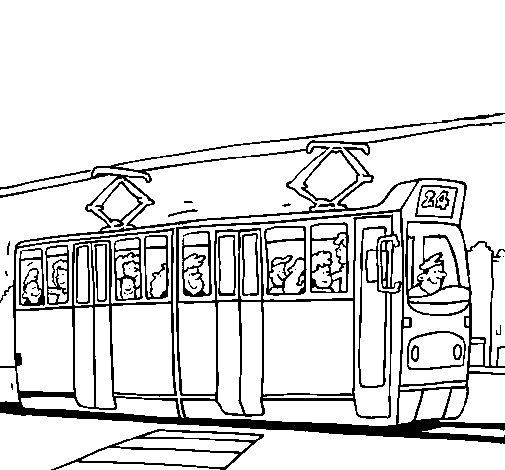 Dibujo de Tranvía con pasajeros para Colorear