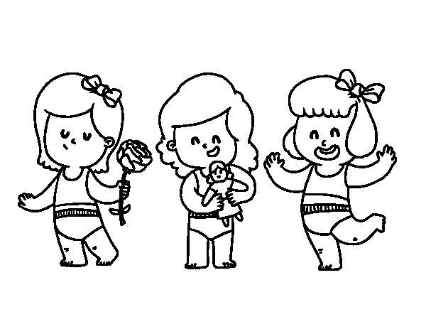 Dibujo de Trillizas para Colorear