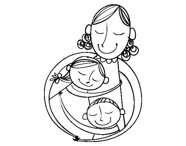 Dibujo de Un abrazo para mamá para Colorear