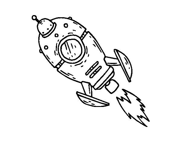 Cohete De Astronauta Y Vintage De Dibujos Animados: Dibujo De Un Cohete Espacial Para Colorear