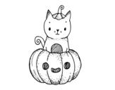 Dibujo de Un gatito de Halloween para colorear