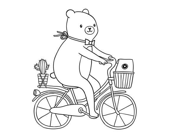 Dibujo de Un oso en bicicleta para Colorear