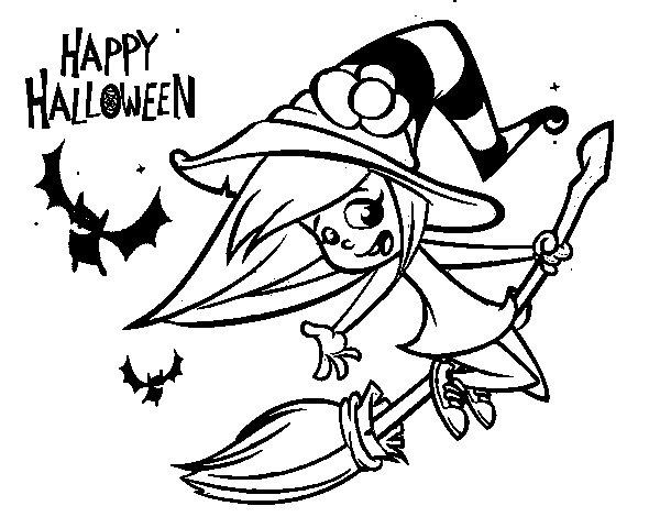 Dibujo de Una brujita de Halloween para Colorear