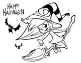 Dibujo de Una brujita de Halloween
