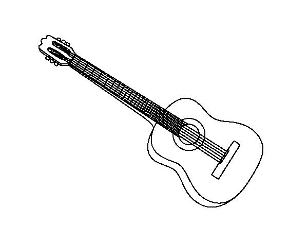 Worksheet. Dibujo de Una guitarra espaola para Colorear  Dibujosnet