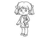 Dibujo de Una niña con gatito para colorear