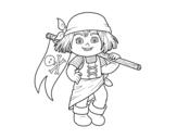 Dibujo de Una niña pirata para colorear