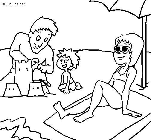 Dibujo de Vacaciones familiares para Colorear