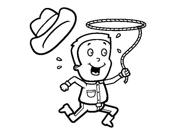Dibujo de Vaquero con cuerda para Colorear