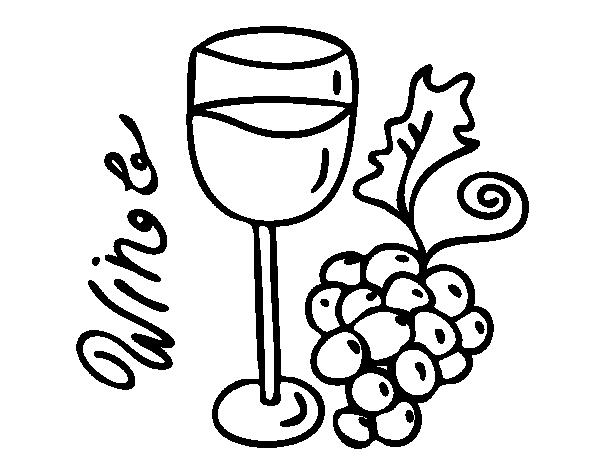 Dibujo de Vino tinto para Colorear - Dibujos.net