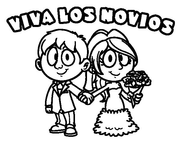 Dibujo de Viva los novios para Colorear  Dibujosnet