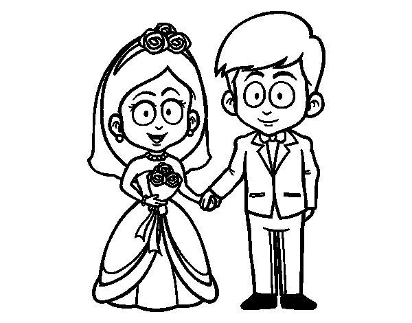 dibujo de vivan la novia y el novio para colorear