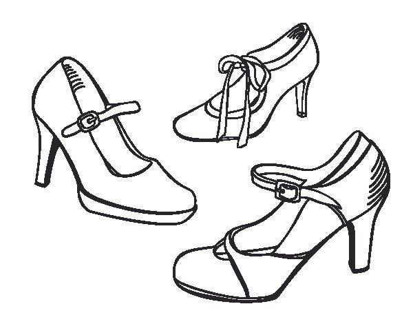Dibujo de Zapatos de saln para Colorear  Dibujosnet