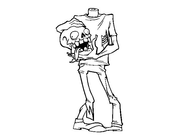 Dibujo De Zombie Sin Cabeza Para Colorear