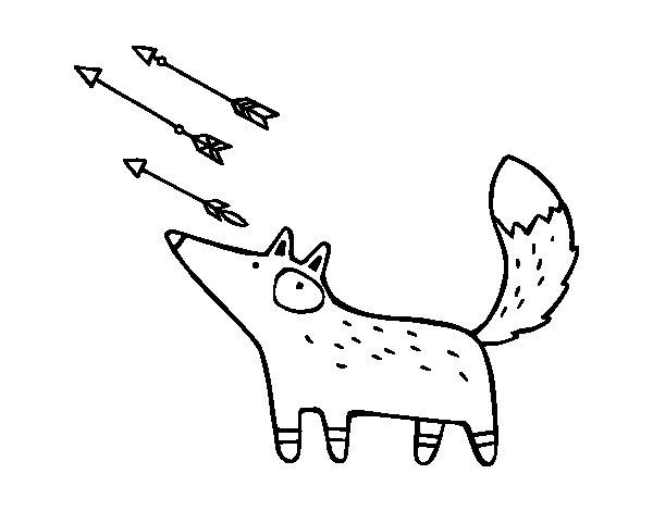 Dibujo de Zorro y flechas para Colorear